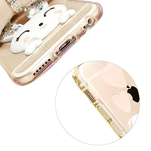 MOMDAD Coque iPhone 5 5S SE Etui iPhone 5 5S SE TPU Silicone Coque iPhone 5 5S SE Coque de Protection en TPU Souple Coque avec Bling Diamant Case-Rose Lapin-Jaune