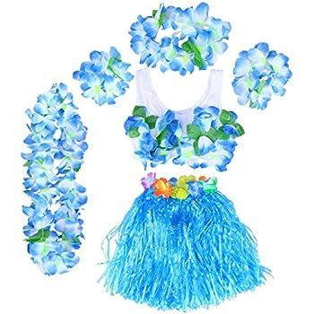 MULTI-COLOUR SHORT HULA SKIRT 40CM LEI SET FLOWER BRA HAWAIIAN FANCY DRESS