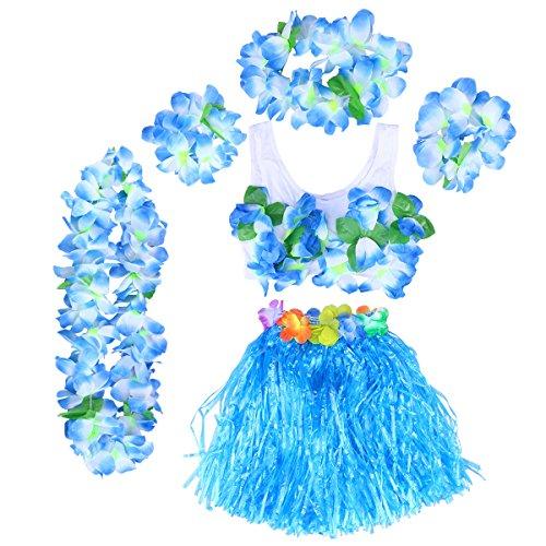BESTOYARD Mädchen Hula Gras Rock Set Hawaiian Luau Tanz Rock Tropische Blume Leis Armbänder Stirnband Halskette BH Set (Blauer Rock)