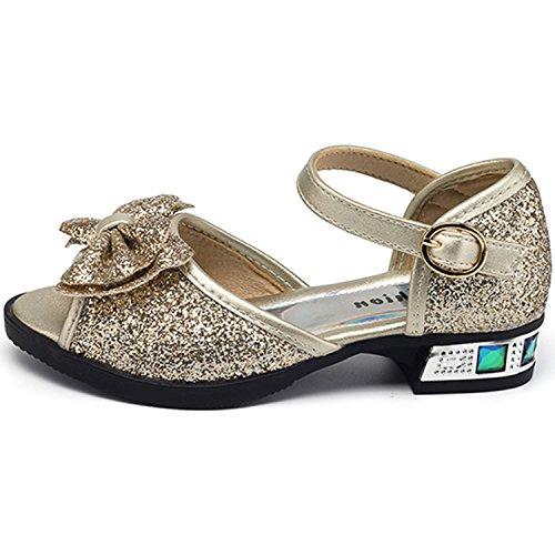 Oasap Girl's Open Toe Low Heels Buckle Bow Glitter Mary Jane Sandals silver
