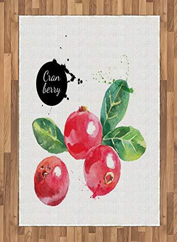 ABAKUHAUS Obst Teppich, Aquarell Cranberries, Deko-Teppich Digitaldruck, Färben mit langfristigen Halt, 120 x 180 cm, Dunkle Koralle Schwarz und Grün - Cranberry Farbe Teppich