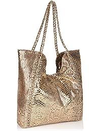 Neeshi Women's Tote Bag Python Gold (J-C)