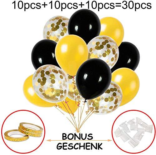 Hook Luftballons Gold Schwarz Ballons, Konfetti Gold Luftballon Ballon, Für Silvester Deko Party Hochzeit Geburtstag Dekoration (30 Stück)