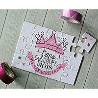 Carte annonce grossesse pour tata : puzzle + jolie pochette en toile de jute