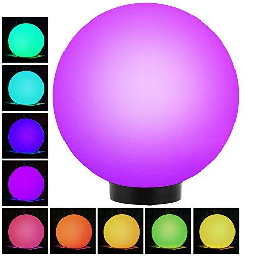 GreenBlue GB167 Außensolarlampe Solarkugel Solarleuchte LED Leuchtkugel Garten Beleuchtung Verschiedene Leuchtfarben (Color, 1 Stück - 30cm)