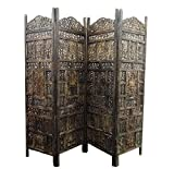 Crafts A to Z Floriferous Wooden Handcrafted Partition Room Divider Separator For living Room Office home - Wood partition screen room divider 4 Panels Wooden Room Divider Wooden Partition Room Divider Flooring & Wall Panels Room Partitions
