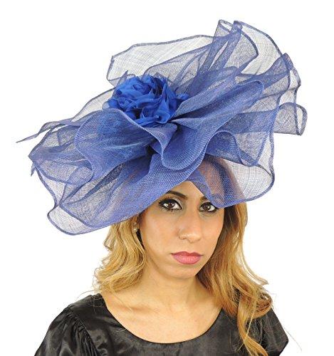 Superbe Grand Amelia Ascot Derby Bibi Chapeau–avec bandeau–Disponible en 30couleurs Rouge - Rouge foncé