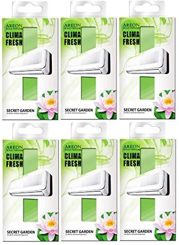 AREON Clima Fresh Ambientador Casa Jardín Secreto Aire Acondicionado Verde Original Hogar Salón Oficina Tienda Olor (Secret Garden Pack de 6)