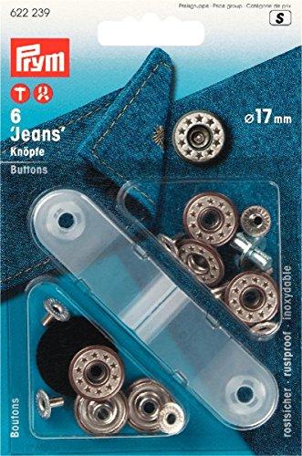 Prym 622239 NF-Jeansknopf Sterne offen, 17 mm, altmessing / mattweiß
