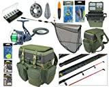 COMPLETE STARTER SEA FISHING KIT SET ROD & REEL SEAT BOX RUCKSACK SEA TACKLE NET