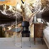 Weaeo Wand Dekor Papier Ry WolfTag Brüllen Schnee Cafe Wandverkleidung Wandmalereien-3D Tapeten Wohnkultur Hintergrundbild-150X120Cm