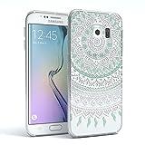 Samsung Galaxy S6 Edge Hülle - EAZY CASE Ultra Slim TPU Handyhülle - Indische Sonne Design klar in Weiß / Türkis