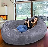 Der größte Sitzsack Europas - Riesiger Giga Sitzsack in Grau mit 1500l Memory Schaumstoff Füllung und Waschbarem Bezug - Gemütliches Sofa, Riesen Bett, Bean Bag für Kinder und Erwachsene
