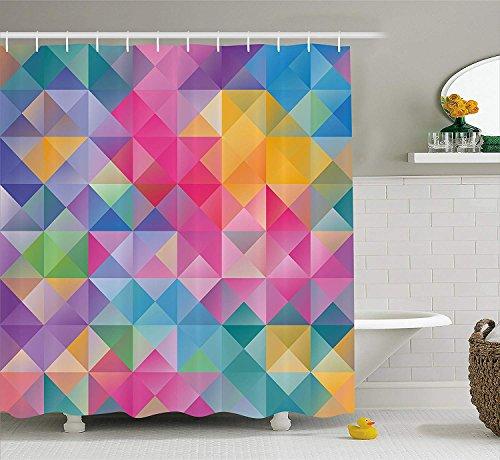 GAOFENFFR Geometrische Duschvorhang abstrakte verschwommenes Bild der Quadrate Linien Ombre wie Mosaik Wabengitter Kunstdruck Stoff Badezimmer Dekor Set mit rosa lila