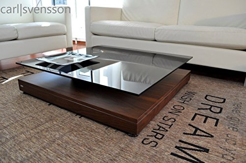 Design Couchtisch V-570 Nussbaum/Walnuss getöntes Glas Carl Svensson