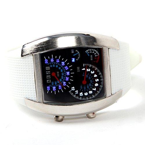 TOOGOO(R)LED Uhr Sektor Sport Auto Messinstrument Zifferblatt Mann Armbanduhr (weiss)
