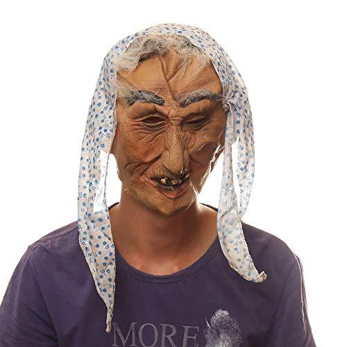 Halloween Maske Party Film Requisiten Hexe Weird Old Lady Latex Maske Unisex 1 Stücke Erwachsene Geschenk,Skintone,Onesize
