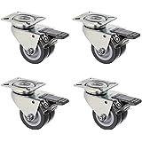 PP Lot de 4 double-roulettes avec freins adaptés aux pelouses pour fauteuil-cabine Charge max. 400 kg