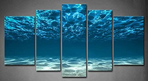 5 Panel Wall Art Blue Ocean Bottom View Beneath Surface Painting The Picture Print On Canvas Seascape Pictures For Home Decor Decoration Gift Piece Stretched By Wooden Frame Ready To
