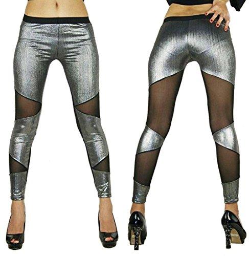 DuuoZy Frauen-reizvolle Ineinander greifen niedrige Taille Lange Hosen-Freizeit-Workout Gamaschen Bühnen Leistung Kostüm , Silver , (Pole Kostüme Fitness)