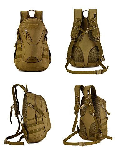 Imagen de huntvp  de asalto estilo militar táctical bolsa de hombro impermeable de nylon 20l para las actividades aire libre senderismo caza viajar color negro marrón y camuflaje del desierto alternativa