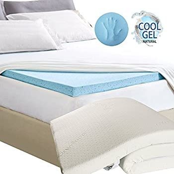 Linenwalas Cooling Gelinfused Memory Foam Single Mattress Topper/Padding with Enclosure (Blue, 36x78x2 Inch)