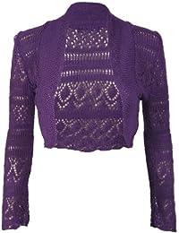 Purple Hanger-Chaqueta corta de punto para mujer, manga larga, abierta en el vientre
