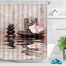LB 180x180cm Tela de Poliéster Mildew-Resistant Cortinas de Ducha, Zen Tema Piedras Vela Orquídea en SPA Decor ,con 12pcs ganchos