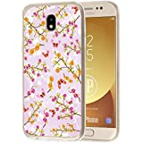 deinPhone Samsung Galaxy J3 (2017) Silikon Case Blumen Schmetterlinge Rosa
