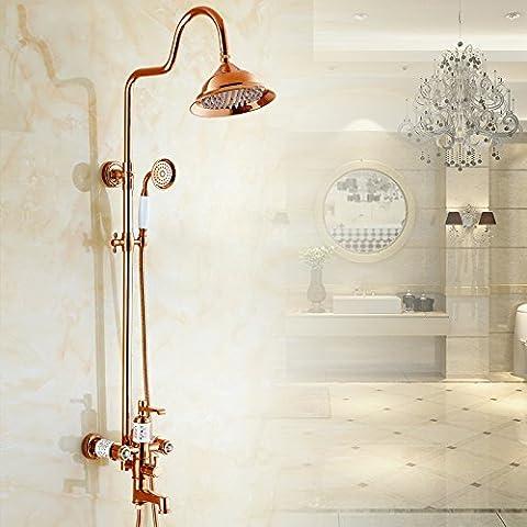 Bagno generale retrò doccia calda e fredda in rame del rubinetto e Gold-Plated Bagno doccia tocca Imposta , Rose Gold