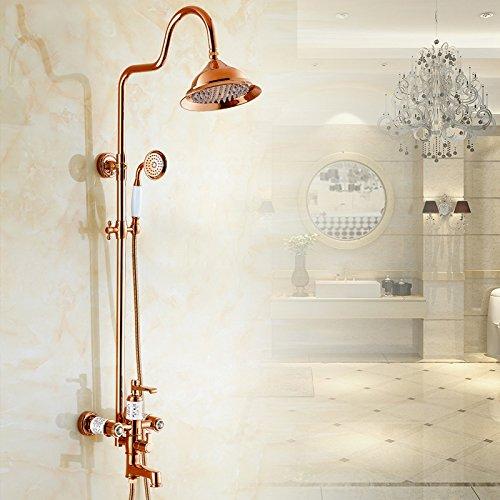 SUN-Presa di fabbrica vestito di rame e oro-placcato di bagno doccia retrš° rubinetto calda e fredda , rose gold