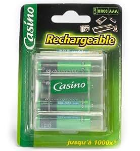 Casino - Uniross - Paquet de 4 accus HR03/AAA - 1,2V - 800 mAh - Ni-MH