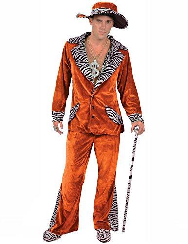 Zuhälter Kostüm in Orange mit Hütte Junggesellenabschied Herren (Hütte Party Die Kostüme)