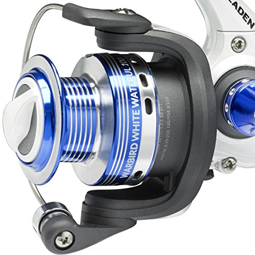 Fladen Multirolle Warbird weiß Wasser ul-100 Frontbremse (5 + 1BB) Qualität fest eloxiertem Aluminium Spule Spin Reel mit Ersatzspule - Ideal für LRF und Drop Shotting [11-7910 F] (Light Christmas Reel)