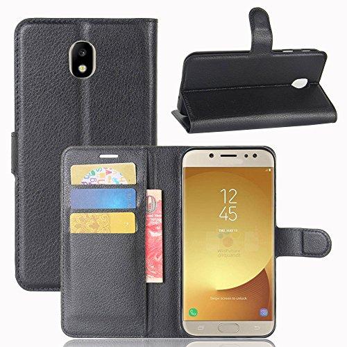 Cover Samsung Galaxy J7 2017 + Pellicola Protettiva, Nero Custodia di Cuoio, Slot per Scheda e Protettiva Flip Integrati Portafoglio con Magnetico Snap Case