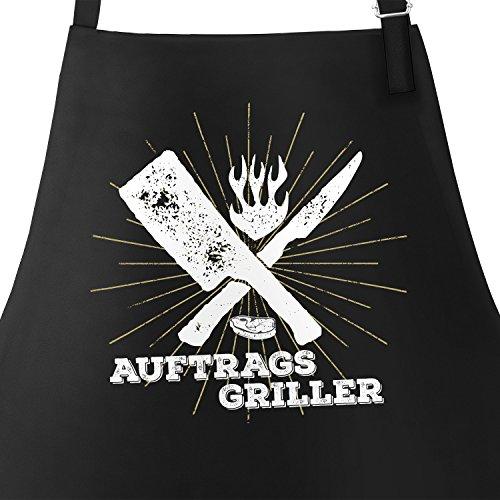 MoonWorks Coole Herren Grillschürze Auftragsgriller Küchenschürze Barbecue-Schürze Fun-Schürze schwarz Unisize