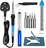 Zacro 60W 230V Welding Soldering Iron (6 in 1 set) Adjustable Temperature with 5pcs Different Tips for Various Repairing Usage
