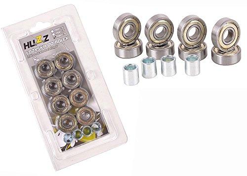 ABEC-9 CARBON Kugellager Ball Bearings Inline 8 St + Buchsen 4 St. HUZZ (Abec Inline-skate-lager 7)