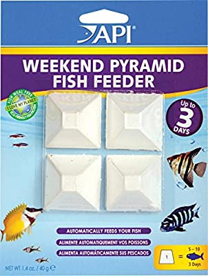API Weekend Holiday Pyramid 3-Day Automatic Fish Feeder 35-Gram, Pack of 4