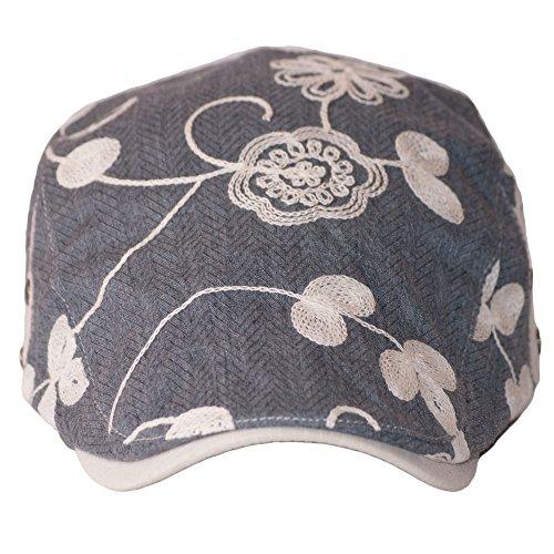 Dazoriginal Womens Cotton Summer Flat Cap Grey Flower Ladies Duckbill Ivy  Hunting Irish Hat Golf Driver 3b6241de783