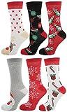 Zest 6 Pack Cotton Rich Ladies Festive Christmas Socks Joyful Mix
