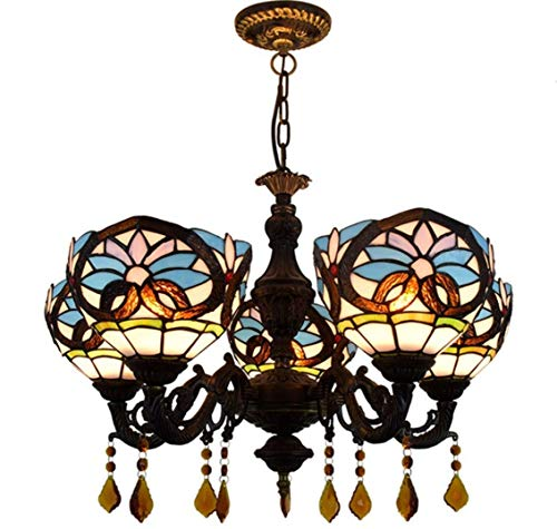 Crystal 25 Licht (WFTD Barocker Glass Chandelier, Tiffany Style 25-Inch Ceiling Licht Crystal Pendant 5-Light Colorful Restaurant Pendent Light)