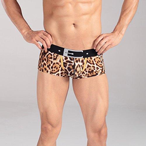 Xuba Herren Boxershort Unterhose Sexy Retroshort Unterwäsche Boxer Briefs Trunks Hipster Leoparden Braun