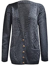 New Women's Ladies Long Sleeve Button Top Chunky Aran Cable Knitted Grandad Cardigan. UK 8-26