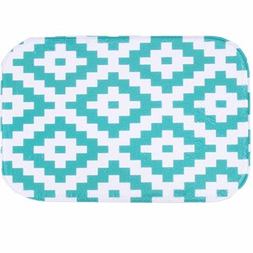 Oasis Green Area Rug (O-C Geometric grid Outdoor Indoor Antiskid Absorbent Bedroom Livingroom Bath Mat Bathroom Shower Rugs Doormats)