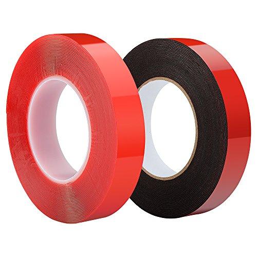 Preisvergleich Produktbild 2 Rollen 25 mm x 10 M Doppelseitiges selbstklebendes Supper Tape - Transparentes Red Line Tape + schwarzes PE-Schwammband