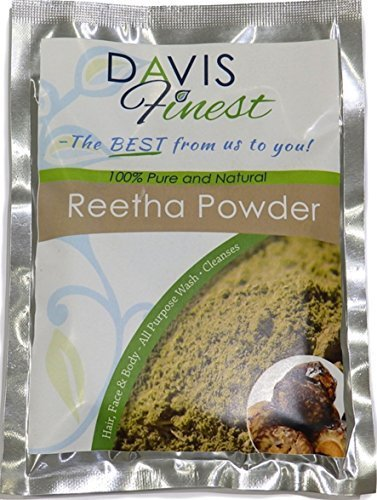 Davis Finest Reetha Aritha Soap Nut Powder - Pure Chemical SLS Free Natural Hair Loss Growth Soap Shampoo Conditioner Leaves Soft Healthy Skin Scalp - Eczema Lice Treatment (100g)