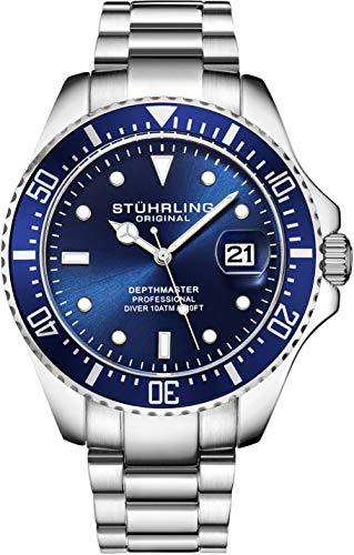Montre pour Homme Stuhrling Original Divers - Montre Sport avec Couronne vissée et étanche à 100 mètres - Cadran analogique, Mouvement à Quartz