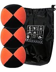 Conjunto de 3 bolas de malabares malabarismos con Flash Pro naranja / negro (4 caras) en la bolsa de terciopelo completa