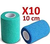 BENDAGGIO COESIVO - BLU E VERDE garza elastica da 10 rotoli x 10 cm x 4.5 m autoadesiva flessibile bende, qualità professionale, primo soccorso - Sports Wrap Cohesive Bandage - Confezione da 10